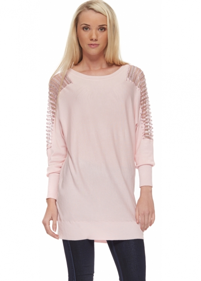 Ladies Baby Pink Fine Knit Jumper With Sequinned Shoulders