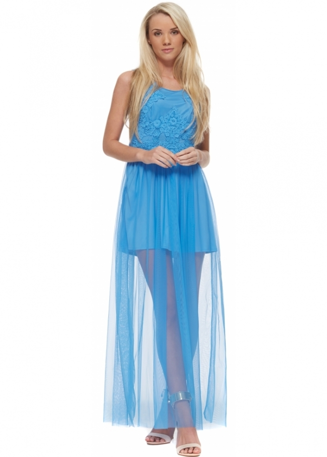 French Boutique Blue Semi Sheer Maxi Dress With Lace Bodice