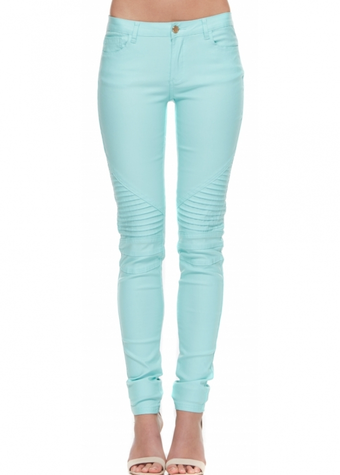 Designer Desirables Mint Super Stretch Fit Ribbed Knee Skinny Jeans