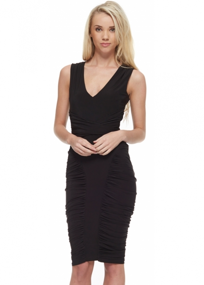 Goddess London Black Silky Jersey Bodycon Midi Dress