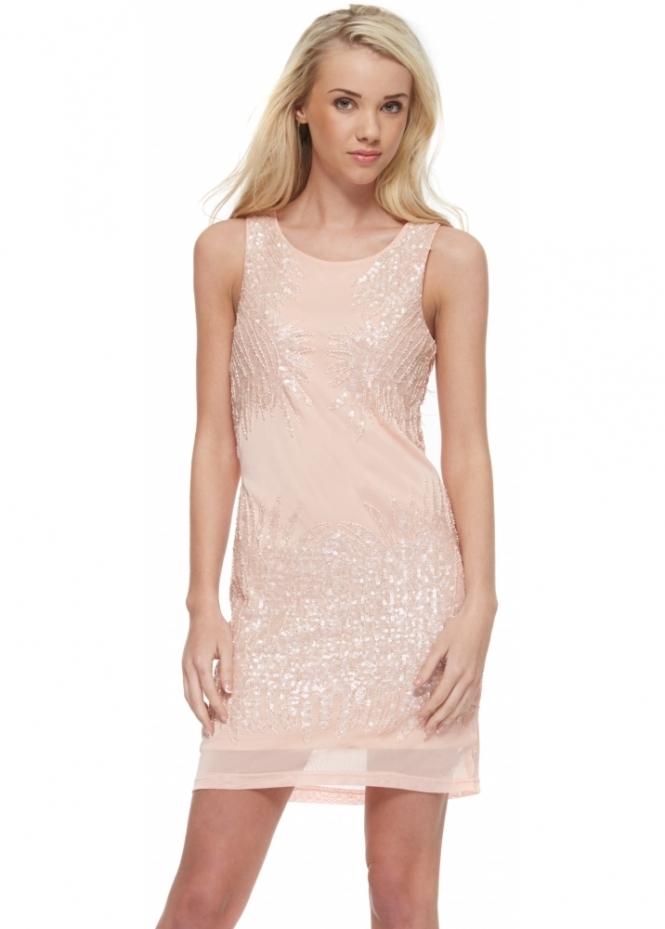 Designer Desirables Peach Mesh Sequinned Beaded Sleeveless Mini Dress