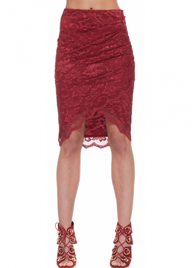 Goddess London Asymmetric Wrap Front Skirt In Burgundy Lace