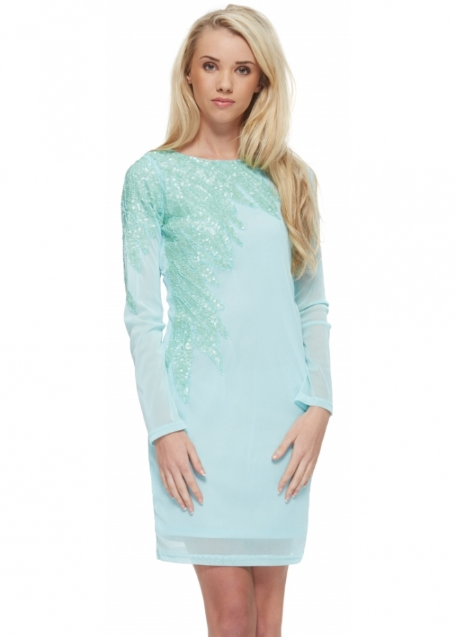 Designer Desirables Aqua Long Sleeved Beaded Mesh Shift Dress