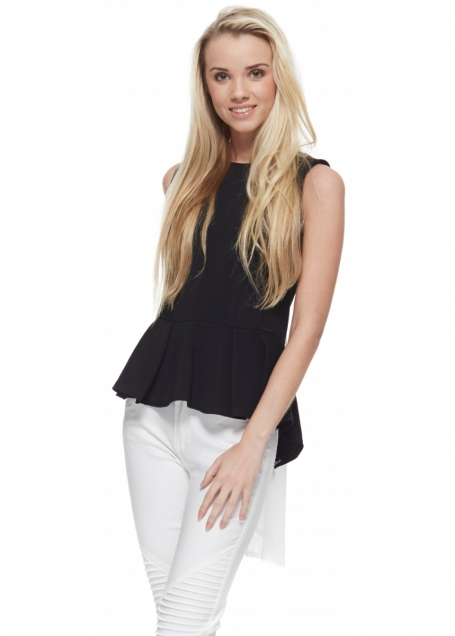 Designer Desirables Black Peplum Top With Dip Hem Chiffon Drape Back