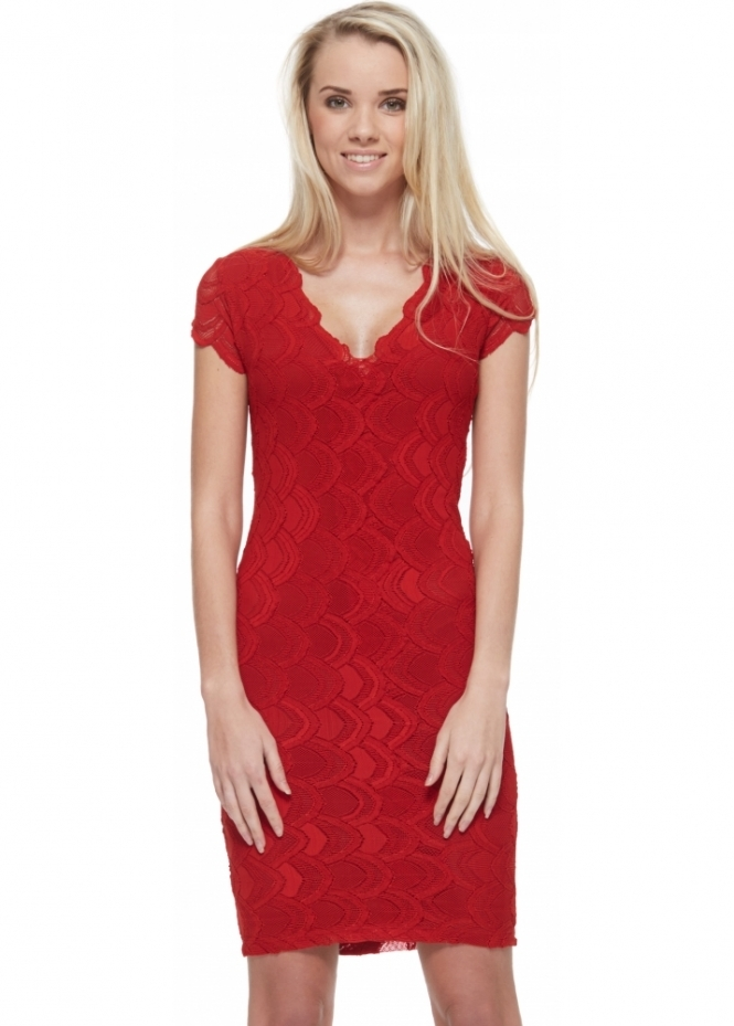 Nightcap Victorian Lace Deep V Pencil Dress In Lipstick