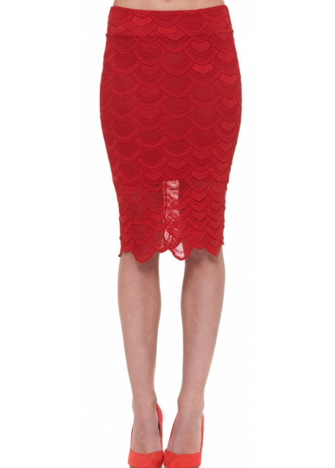 Nightcap Victorian Lace Pencil Skirt In Lipstick