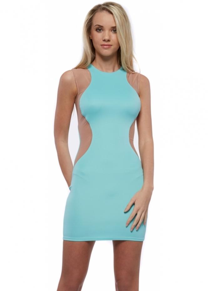 Goddess London Stretch Fit Aqua Mini Dress With Nude Mesh Panels