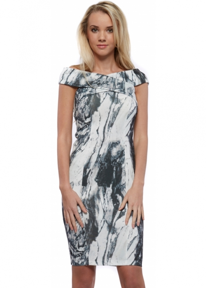Lavish Alice Marble Print Scuba Cross Bardot Bodycon Midi Dress
