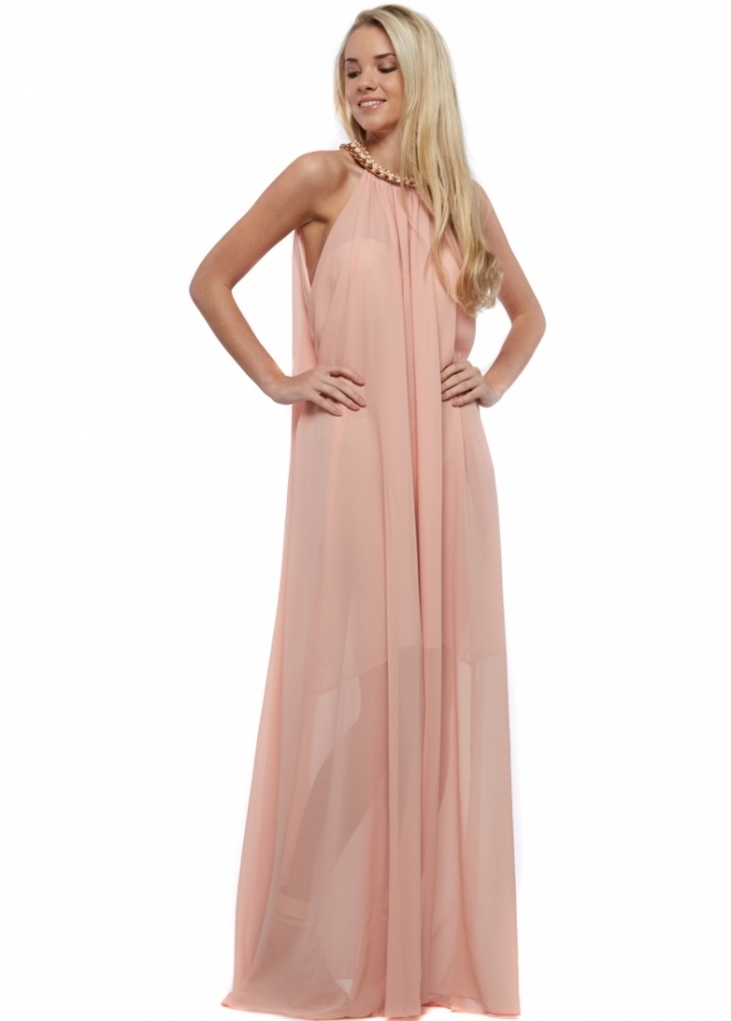 Pink Grecian Maxi Dress With Chunky Gold Necklace