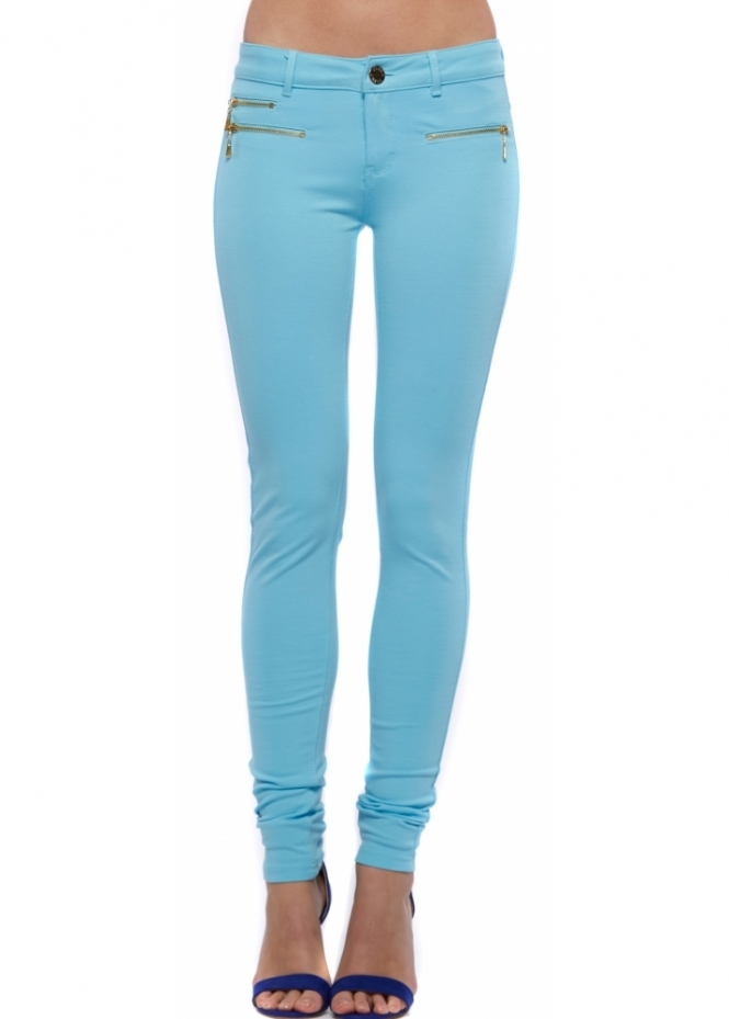 Designer Desirables Blue Super Stretchy Zip Detail Jeggings