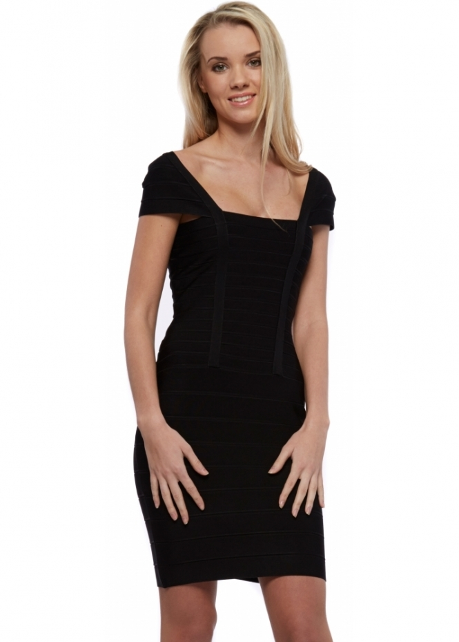 Designer Desirables Black Cap Sleeve Bandage Dress