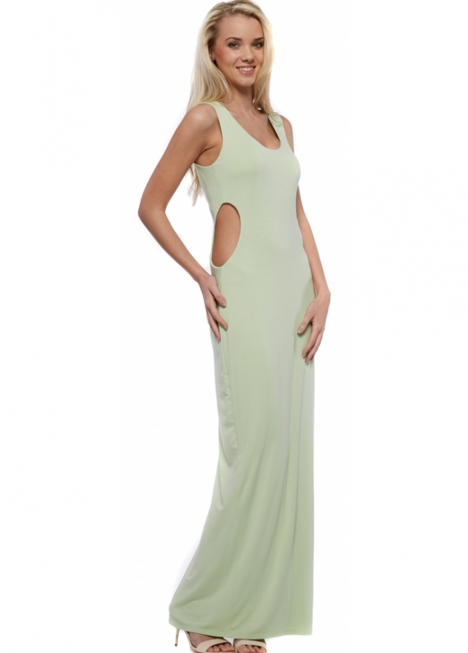 Designer Desirables Pale Green Cut Out Jersey Maxi Dress