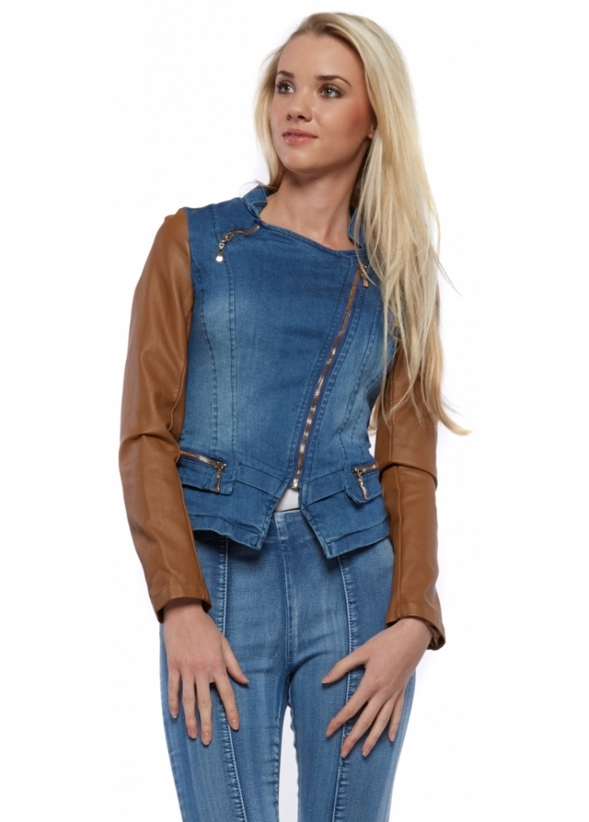 French Boutique Cropped Fitted Stretch Denim Jacket With Faux Leather Sleeves