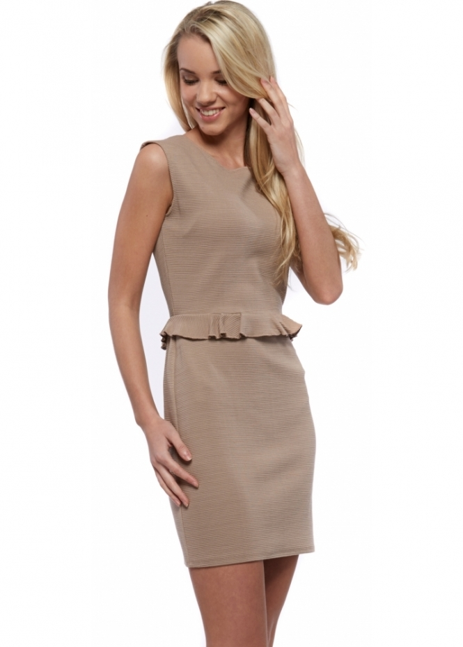 Designer Desirables Beige Ribbed Mini Dress With Frill Waist