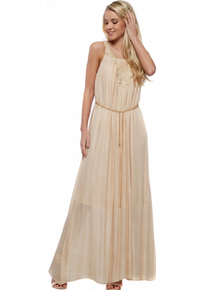 French Boutique Cotton Maxi Dress With Applique Neckline & Gold Sparkle
