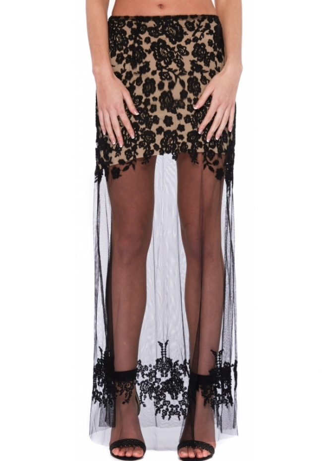 For Love & Lemons Luau Black Sheer Lace Maxi Skirt