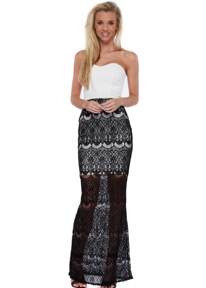 Insterglam Ria Bandeau Black Crochet Lace Maxi Dress
