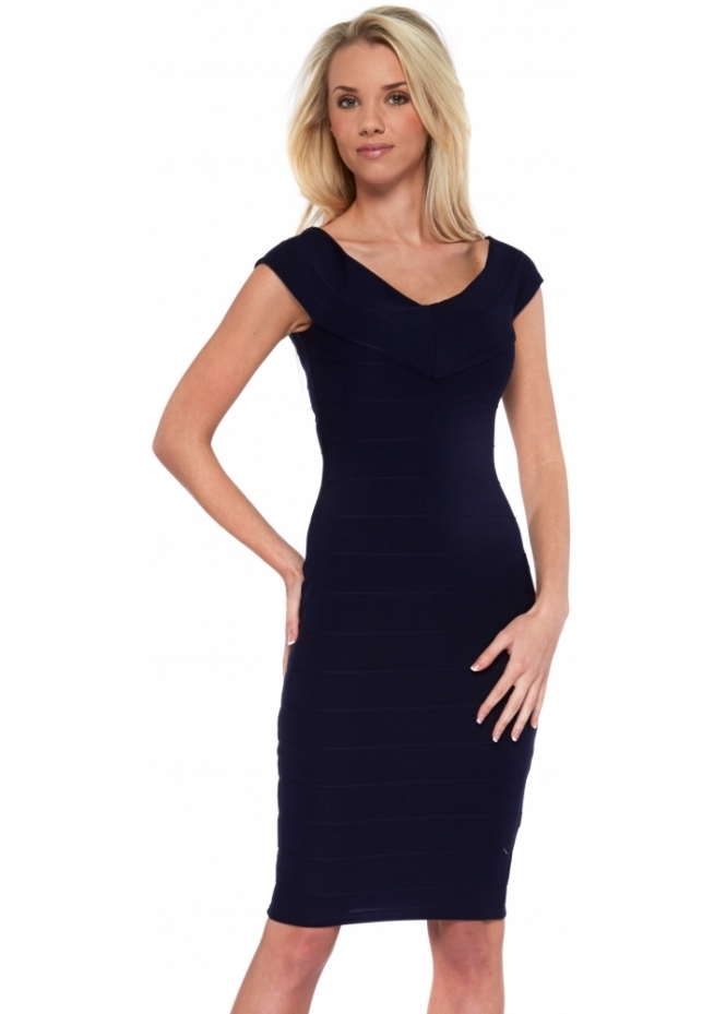 Insterglam Ava Off The Shoulder Bandage Navy Pencil Dress