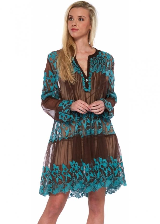 Antica Sartoria Brown Mesh Beach Dress With Turquoise