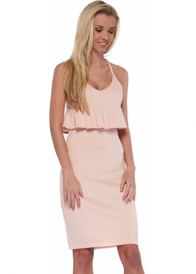 Lavish Alice Dusty Pink Pleated Peplum Midi Dress