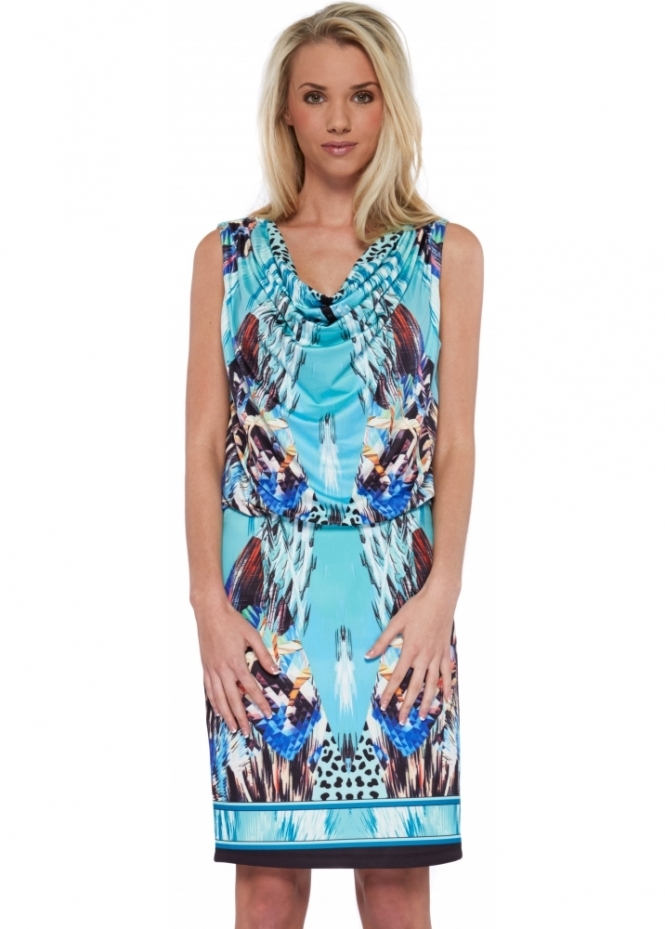 French Boutique Turquoise Print Draped Top Midi Shift Dress