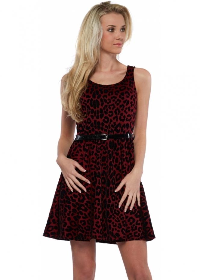Designer Desirables Burgundy Flock Leopard Print Belted Skater Dress