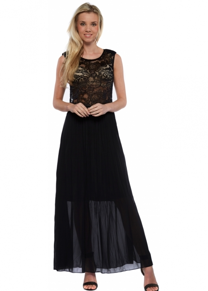 French Boutique Black Maxi Dress With Lace Bodice And Pleated Chiffon Skirt