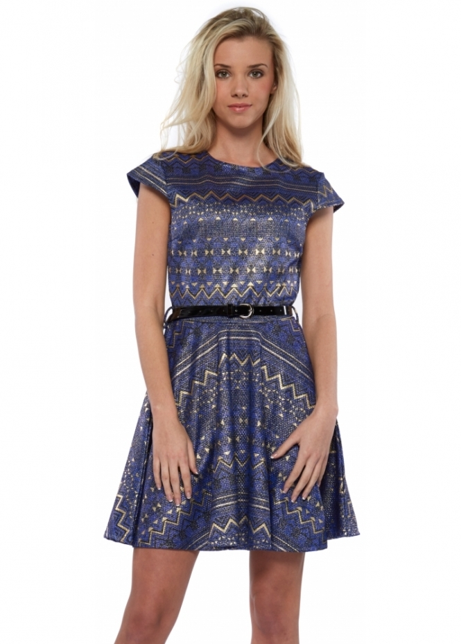 Designer Desirables Blue Skater Dress With Metallic Paint Effect