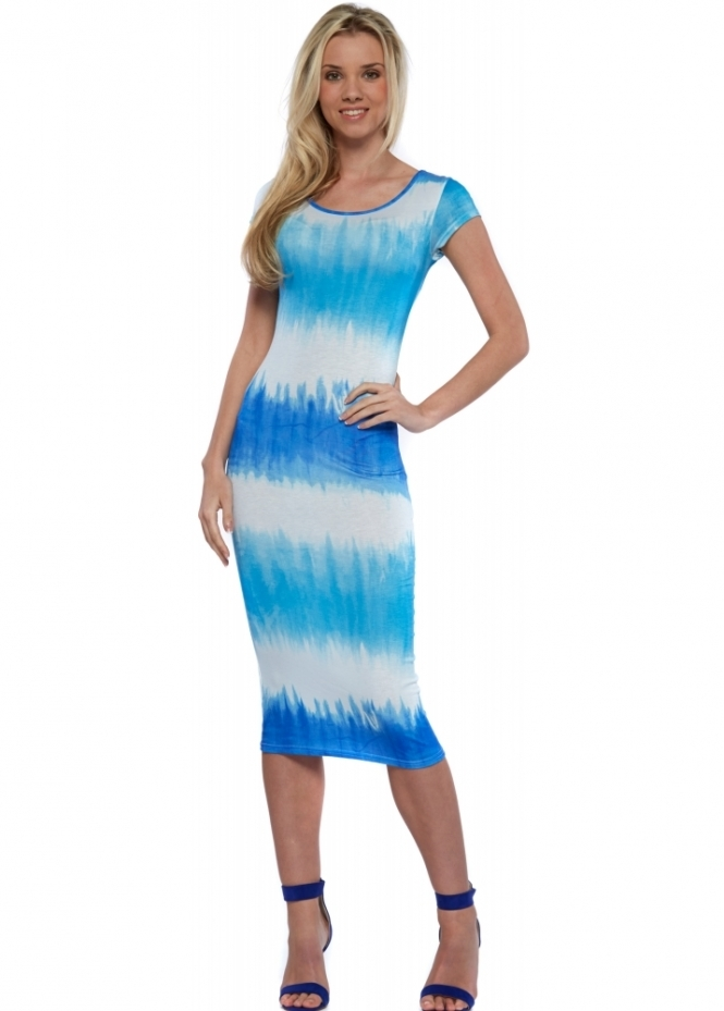 Goddess London Blue Dip Dye Lace Back Midi Dress