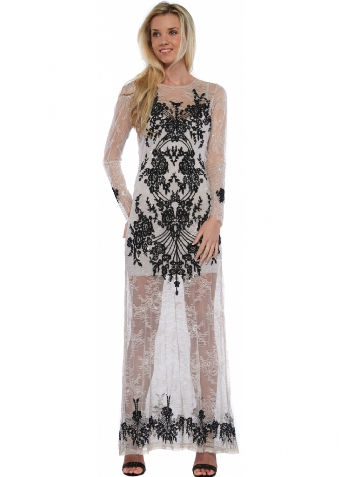 For Love & Lemons Lacey Dreams Long Sleeve Maxi Dress In Dove Grey