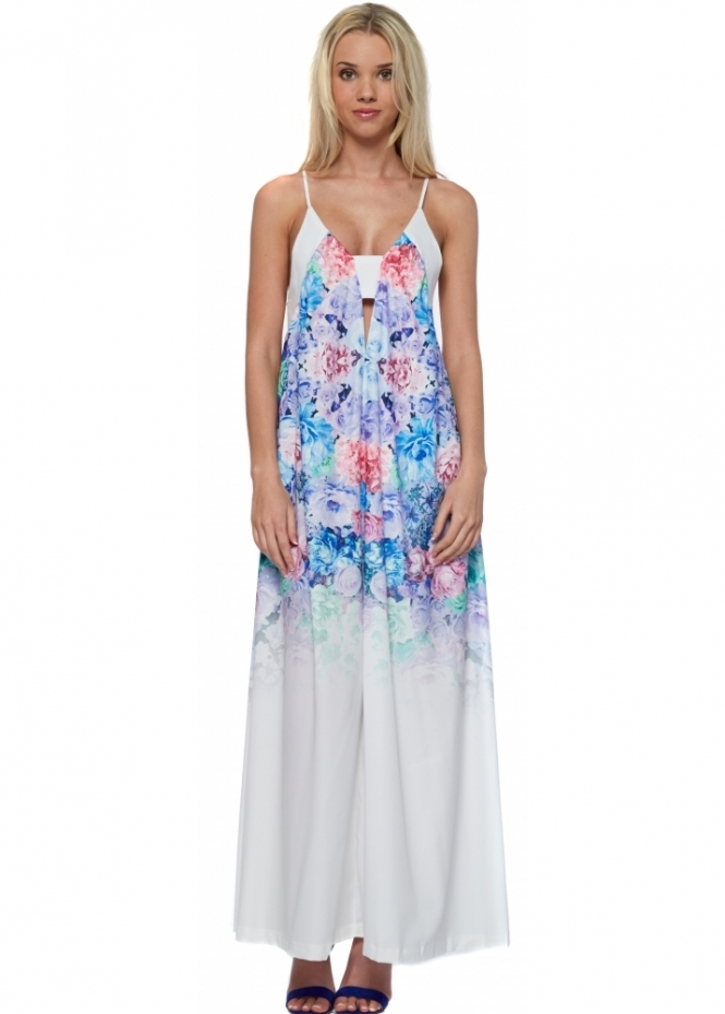 Ginger Fizz Ombre Rose Print Strappy Maxi Dress