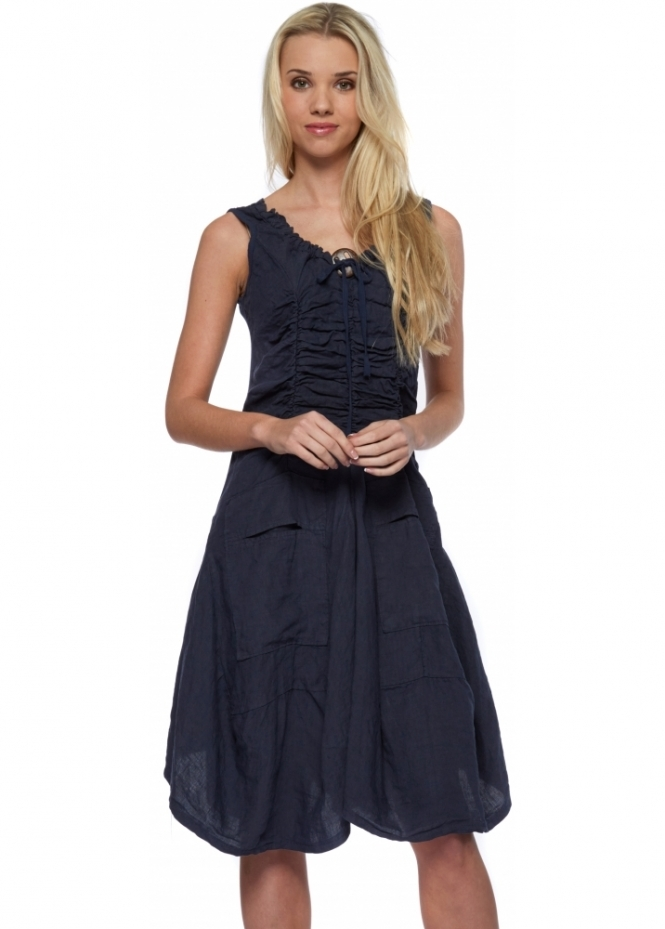 Sugar Babe Navy Blue Linen Summer Dress
