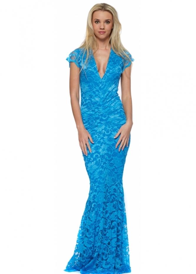 Honor Gold Adrianna Blue Lace Fishtail Maxi Dress