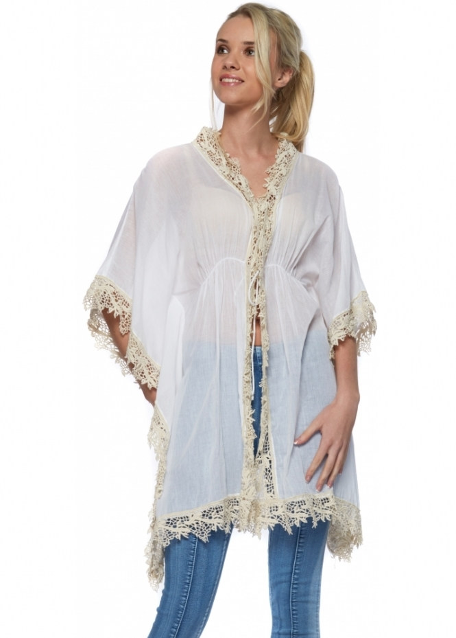 Antica Sartoria White Cotton Lace Trimmed Poncho Kaftan