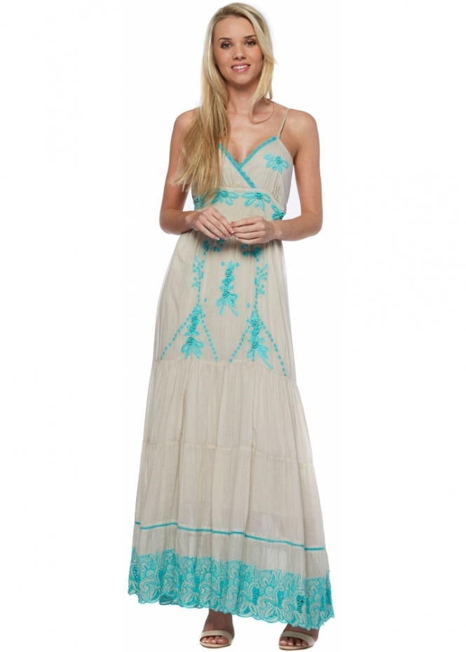Antica Sartoria Turquoise Lace Ecru Strappy Summer Maxi Dress