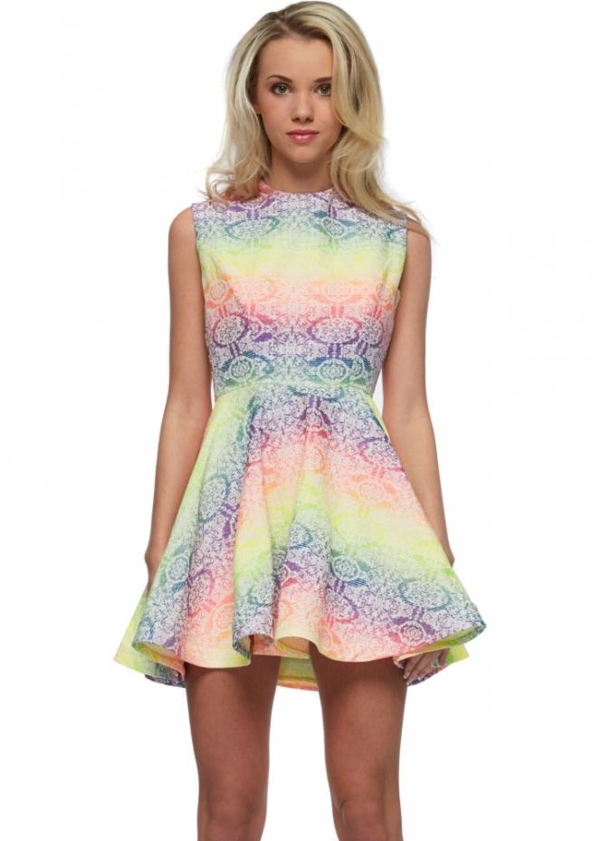 Rebecca Rhoades Becky Cut Out Back Neon Rainbow Mini Skater Dress