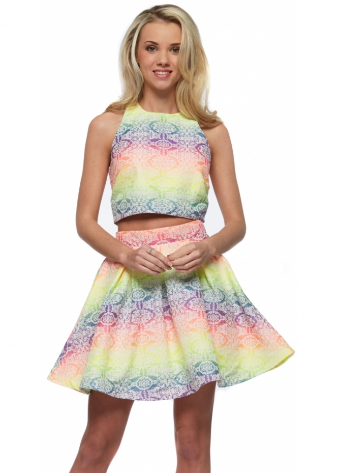 Rebecca Rhoades Rosie Two Piece Neon Rainbow Skater Skirt & Cropped Top Set