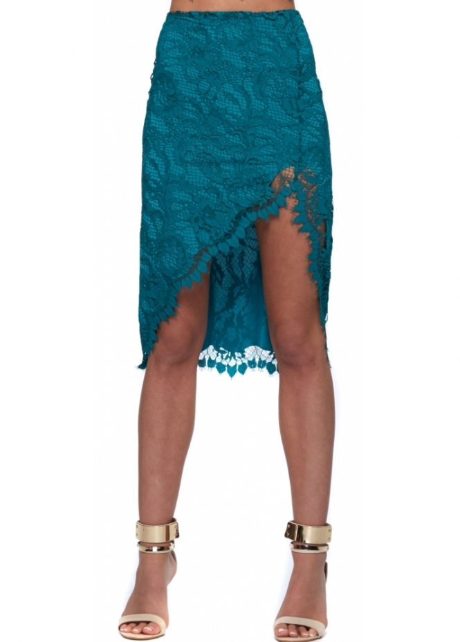For Love & Lemons Maui Waui Teal Lace Asymmetric Skirt