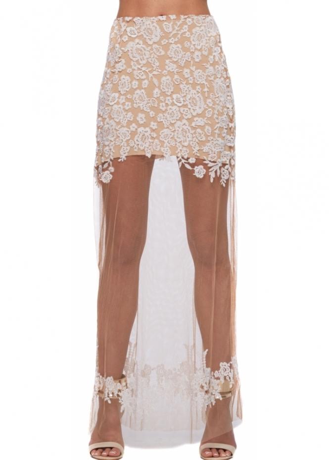 For Love & Lemons Luau White Sheer Lace Maxi Skirt