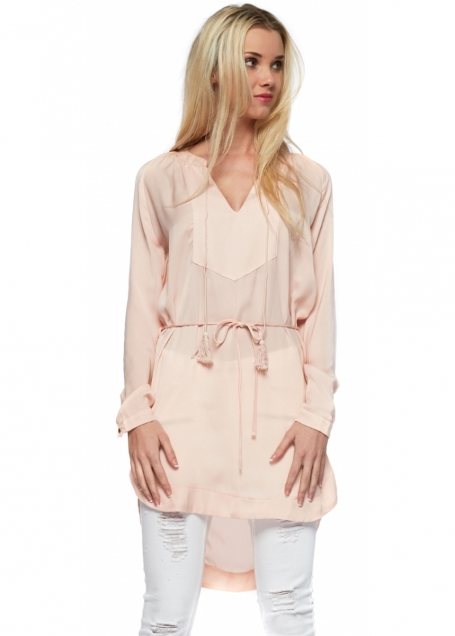 French Boutique Blush Pink Tie Silky Long Sleeved Tunic Top