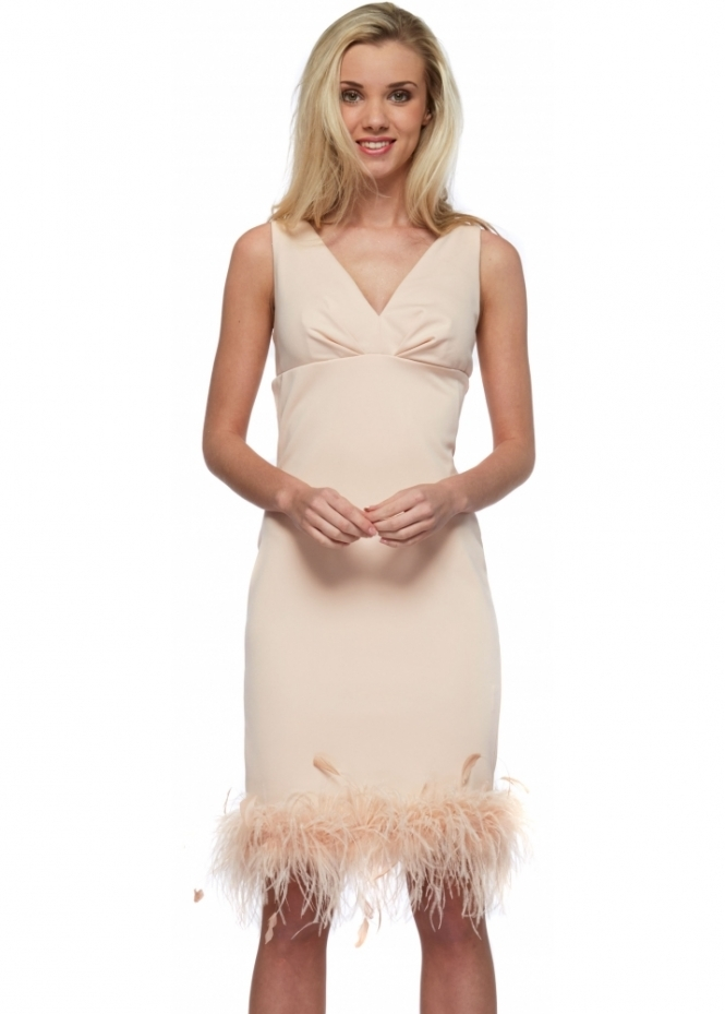Little Black Dress Nude Audrey Dress With Feather Boa Hem