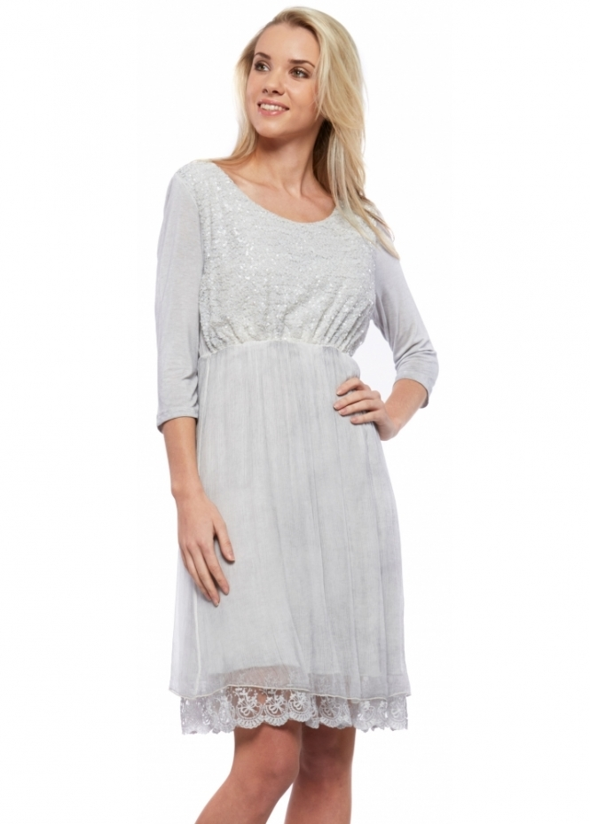 Monton Sequin & Lace Grey Layered Silk Chiffon Dress