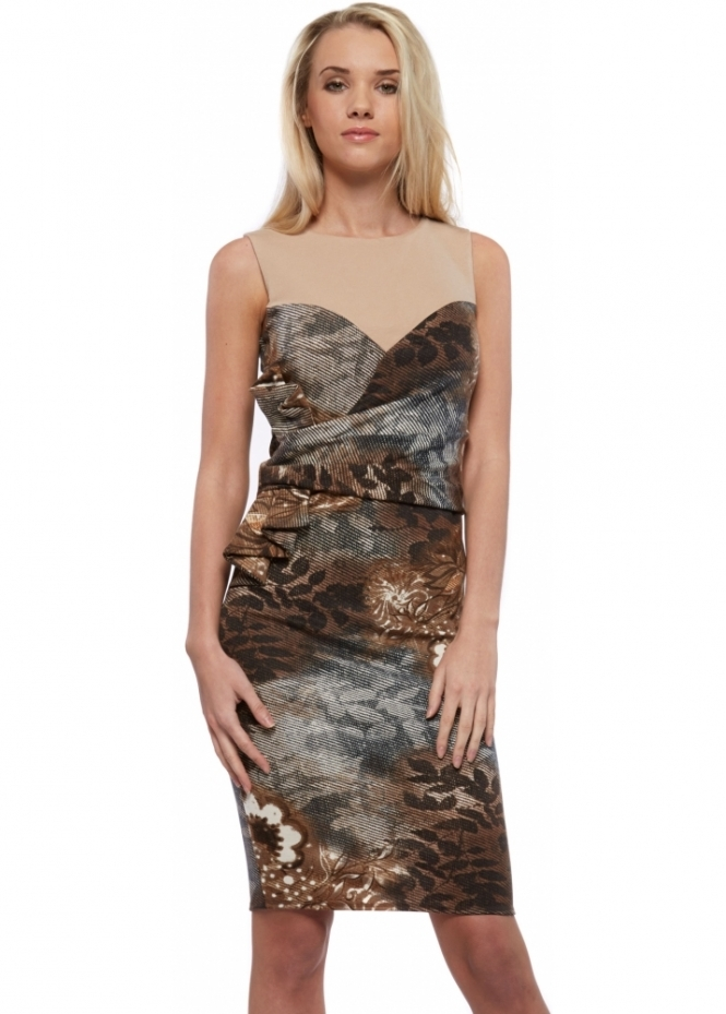 Goddess London Woodland Print Midi Dress With Pleated Bow Side