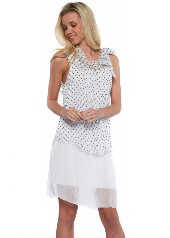 J&L Paris White Spotty Silk Tie Neck Layered Mini Dress