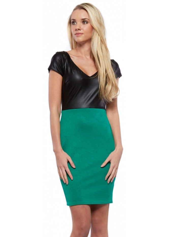 Designer Desirables Green Bodycon Mini Dress With Black PU Ponte Bodice
