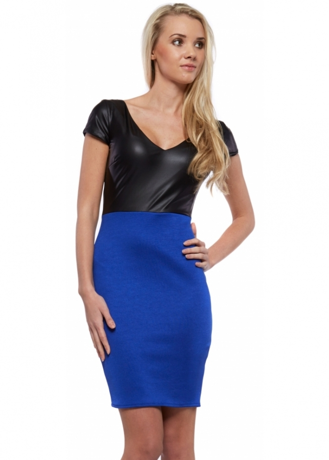 Designer Desirables Blue Bodycon Mini Dress With Black PU Ponte Bodice