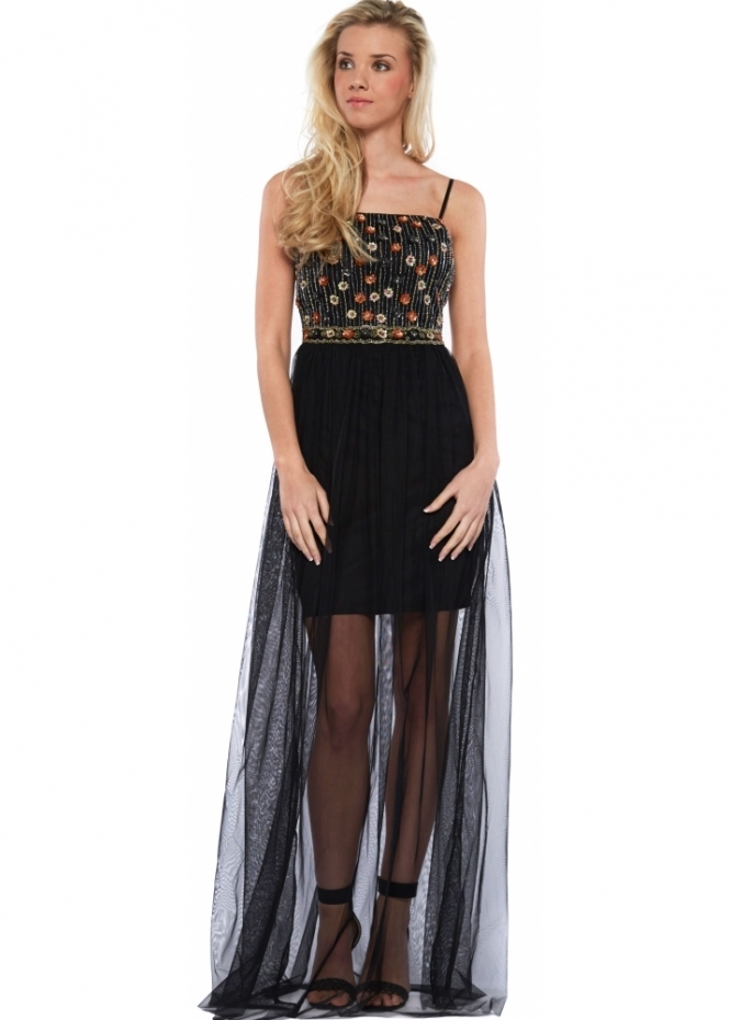 Goddess London Beaded Bodice Black Mesh Skirt Maxi Dress