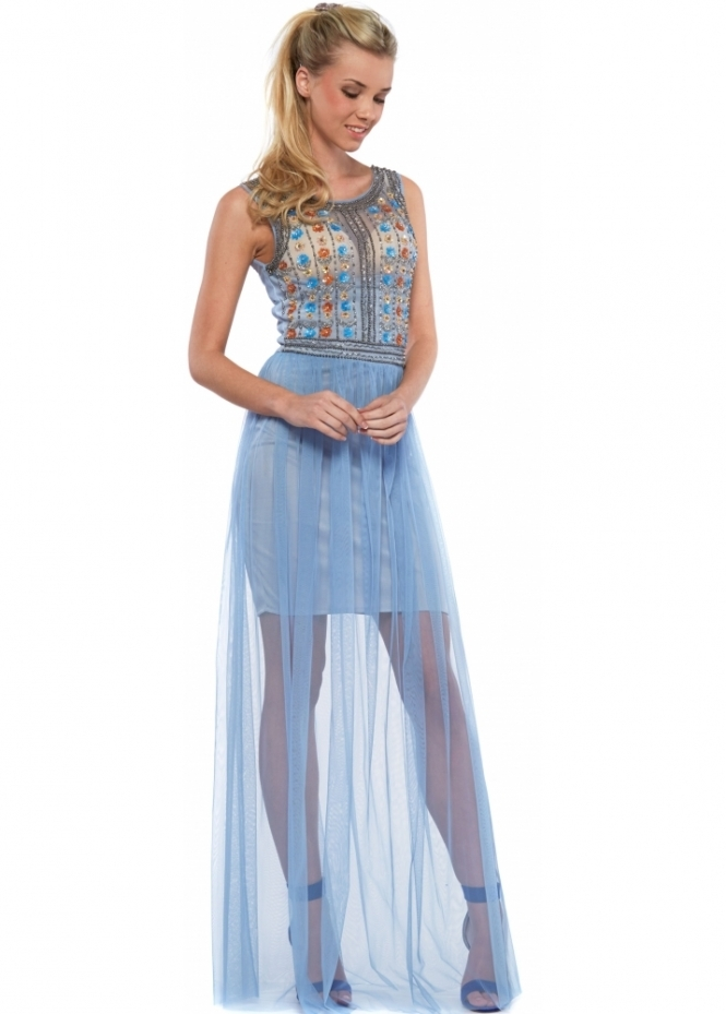 Goddess London Cornflower Blue Beaded Sleeveless Mesh Maxi Dress
