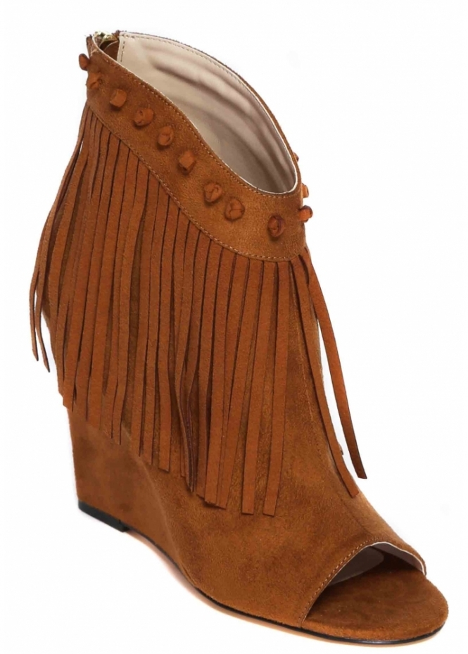 Relish Tan Suede Fringed Wedge Enriqueta Ankle Shoe Boots