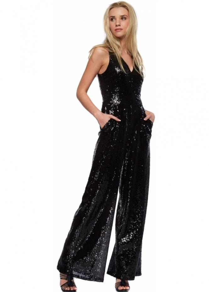 Designer Desirables Cross Back Wide Leg Black Sequinned Jumpsuit